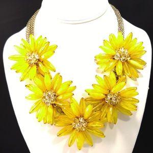 Jewelry - Yellow Acrylic Bead Flower Bib Statement Necklace